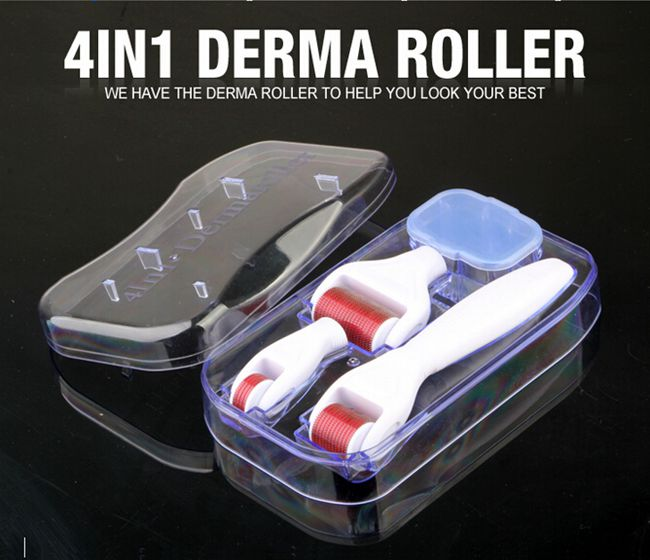 4 in 1 Skin Micro Needling Derma Rollers Kit with Ultraviolet Disinfection Container and Travel Case, DRSF-01